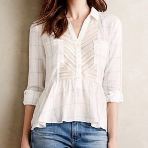 4 Anthropologie Maeve Plaid Lace Peplum Top